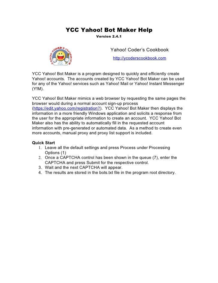 YCC Yahoo! Bot Maker Help                                   Version 2.4.1                                             Yaho...