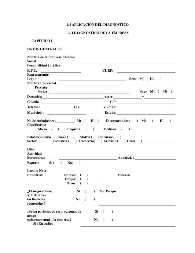 1.4 APLICACIÓN DEL DIAGNOSTICO 1.4.1 DIAGNOSTICO DE LA EMPRESA CAPÍTULO I DATOS GENERALES Nombre de la Empresa o Razón Soc...