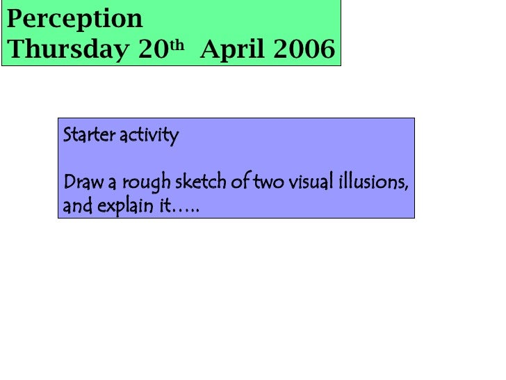 Perception Thursday 20 th   April 2006 Starter activity Draw a rough sketch of two visual illusions, and explain it…..