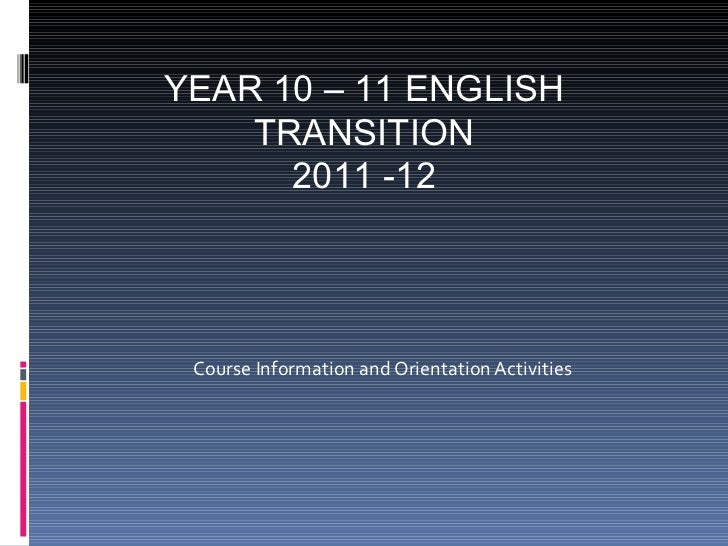 Year 11 Transition Course Info 2011-2012