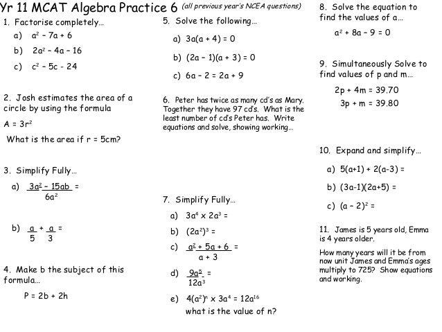 Algebra Maths Year 6 pearson education algebra 2 chapter 1 – Year 11 Maths Worksheets