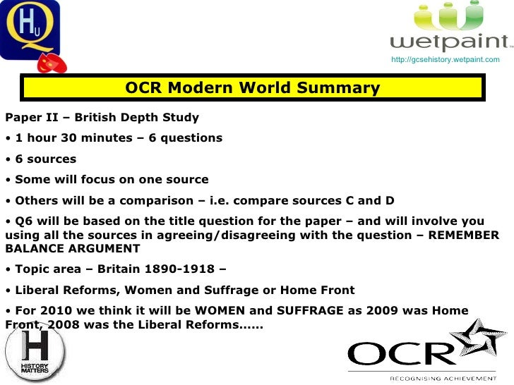 ocr past history papers gcse Past papers save time find all your gcse, as and a2 exam papers and mark schemes fast and download them for free from one site that's fastpastpaperscom.