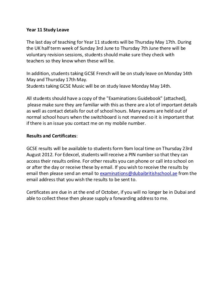 Year 11 Study LeaveThe last day of teaching for Year 11 students will be Thursday May 17th. Duringthe UK half term week of...