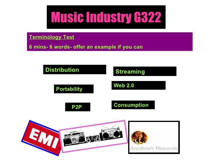 Music Industry G322 Terminology Test 6 mins- 6 words- offer an example if you can Distribution Portability  Web 2.0 Consum...