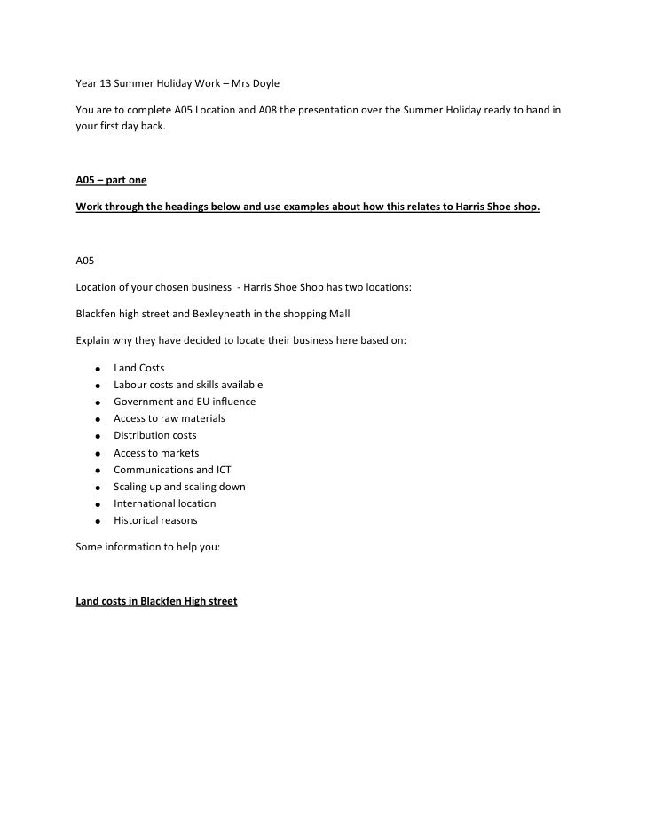 BUSINESS Year 13 summer holiday work