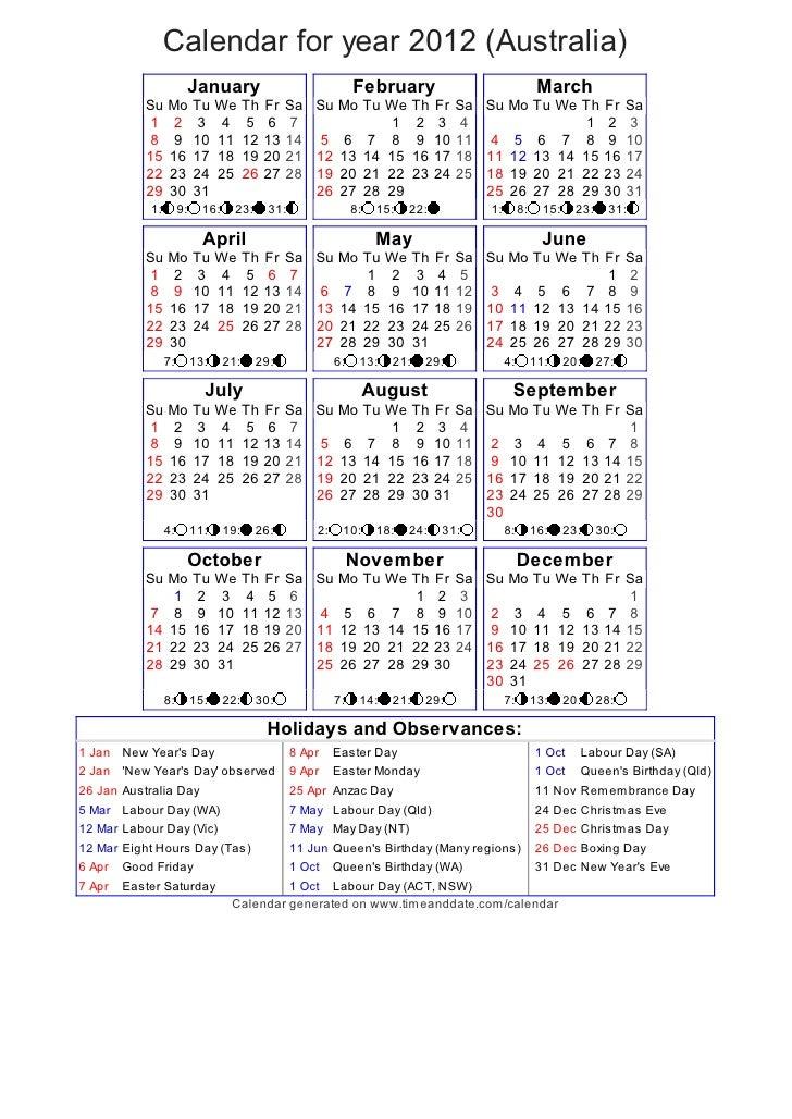 Year Calendar Australia : Year calendar australia