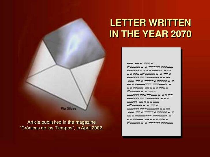 LETTER WRITTEN                                            IN THE YEAR 2070                                               w...