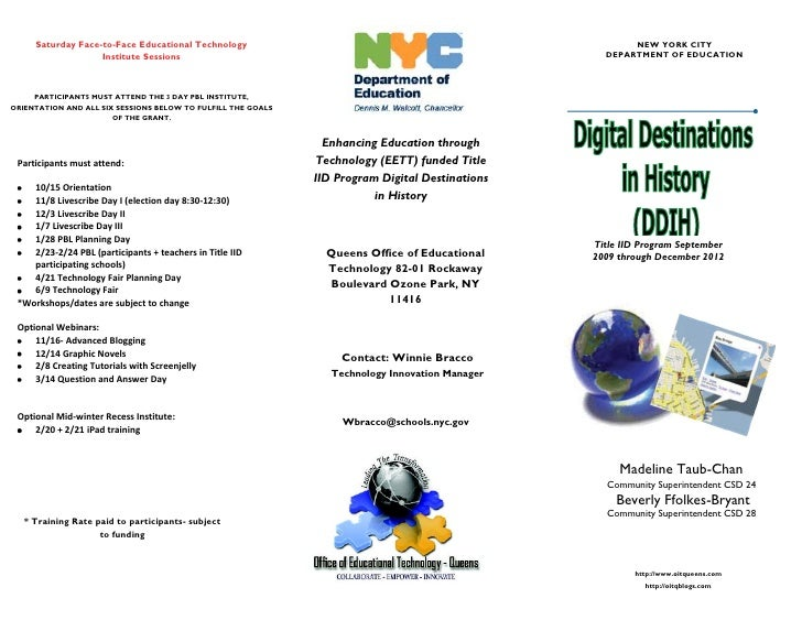 Saturday Face-to-Face Educational Technology                                                       NEW YORK CITY          ...