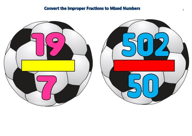 Year 5 convert the improper fractions to mixed numbers