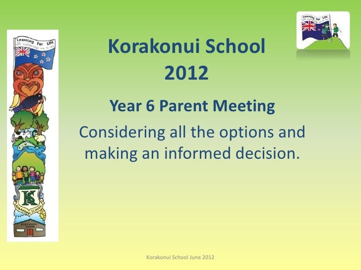 Korakonui School        2012   Year 6 Parent MeetingConsidering all the options and making an informed decision.         K...