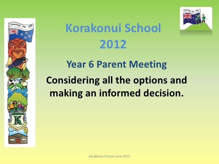 Korakonui School         2012    Year 6 Parent MeetingConsidering all the options and making an informed decision.        ...
