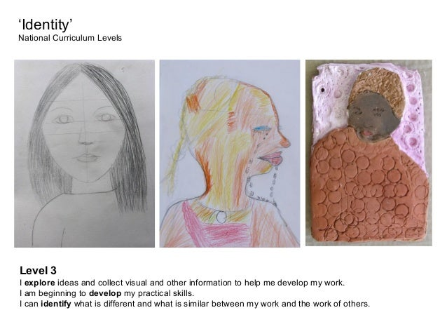 'Identity' National Curriculum Levels  Level 3 I explore ideas and collect visual and other information to help me develop...