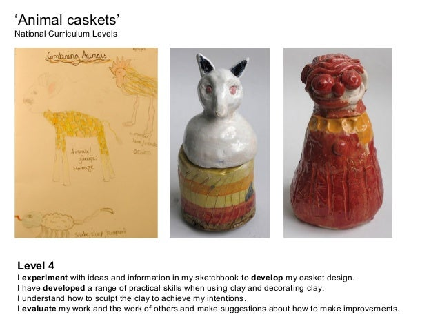 'Animal caskets' National Curriculum Levels Level 4 I experiment with ideas and information in my sketchbook to develop my...