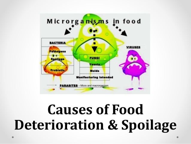 the causes of deterioration of air Food spoilage refers to undesirable changes occurring in food due to the influence of air, heat, light, moisture, which foster the growth of microorganisms.