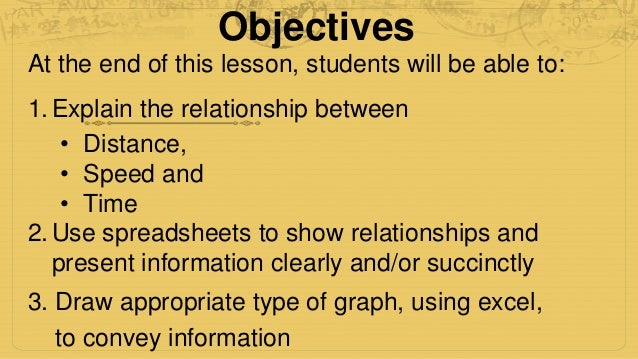 Objectives At the end of this lesson, students will be able to: 1.Explain the relationship between • Distance, • Speed and...