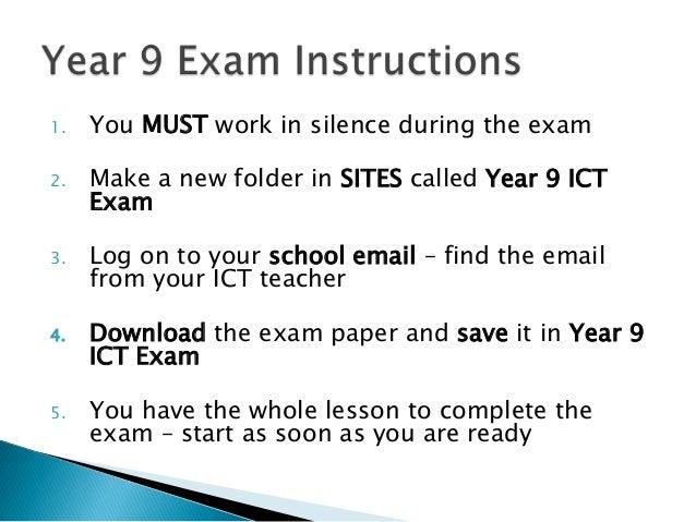 Year 9 exam instructions