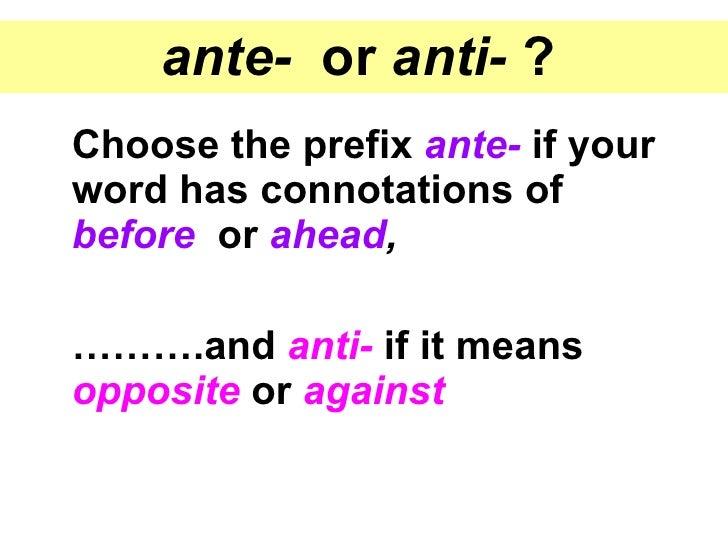 Ante Prefix