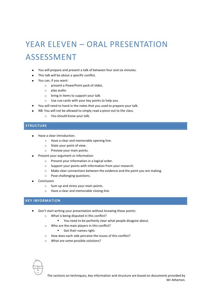 YEAR ELEVEN – ORAL PRESENTATION ASSESSMENT      You will prepare and present a talk of between four and six minutes.      ...