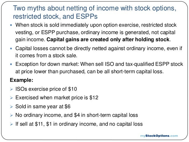 Sale of stock options tax