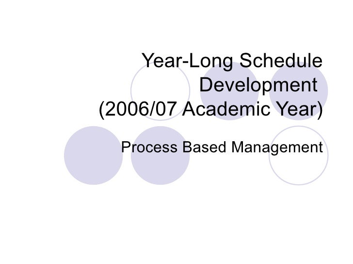 Year-Long Schedule Development  (2006/07 Academic Year) Process Based Management