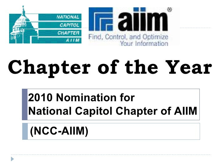 Chapter of the Year 2010 Nomination for  National Capitol Chapter of AIIM (NCC-AIIM)