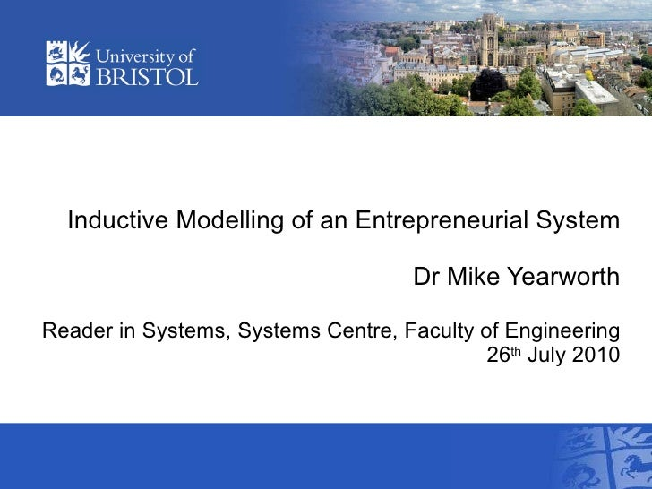 Inductive Modelling of an Entrepreneurial System