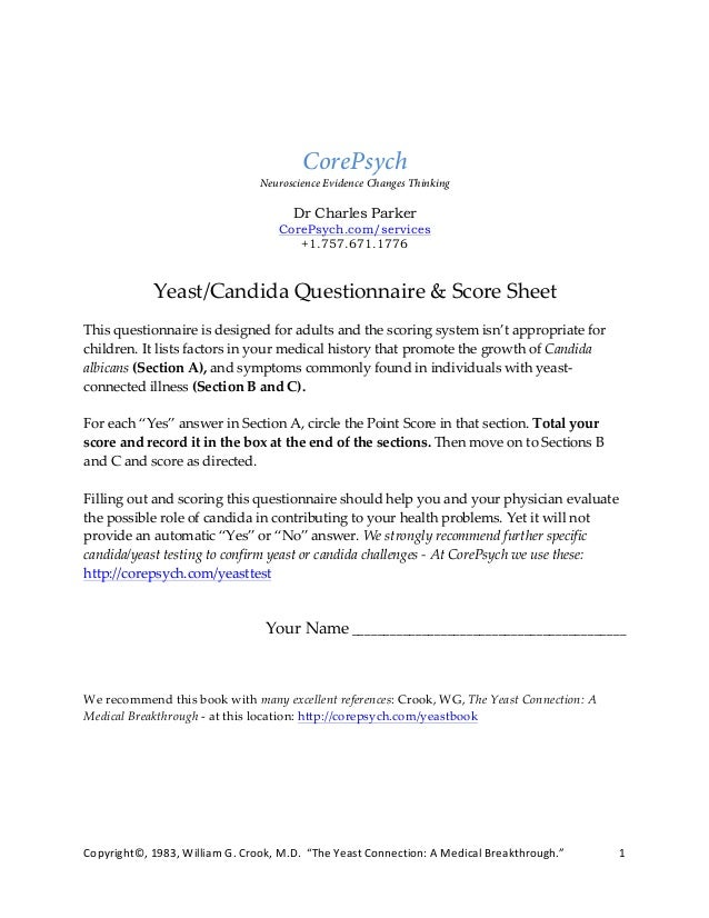 Candida Yeast Comprehensive Questionnaire