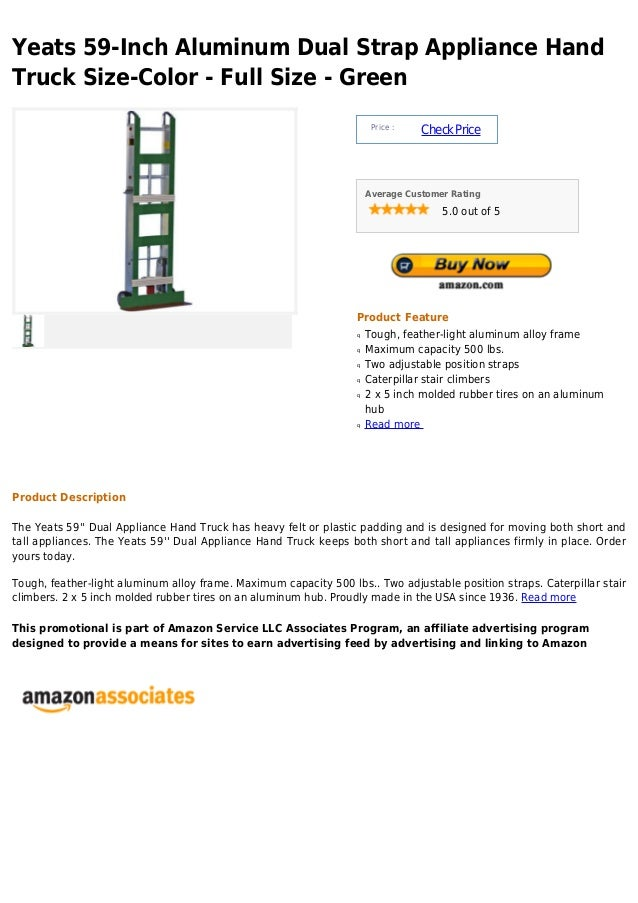 Yeats 59 inch aluminum dual strap appliance hand truck size-color - full size - green