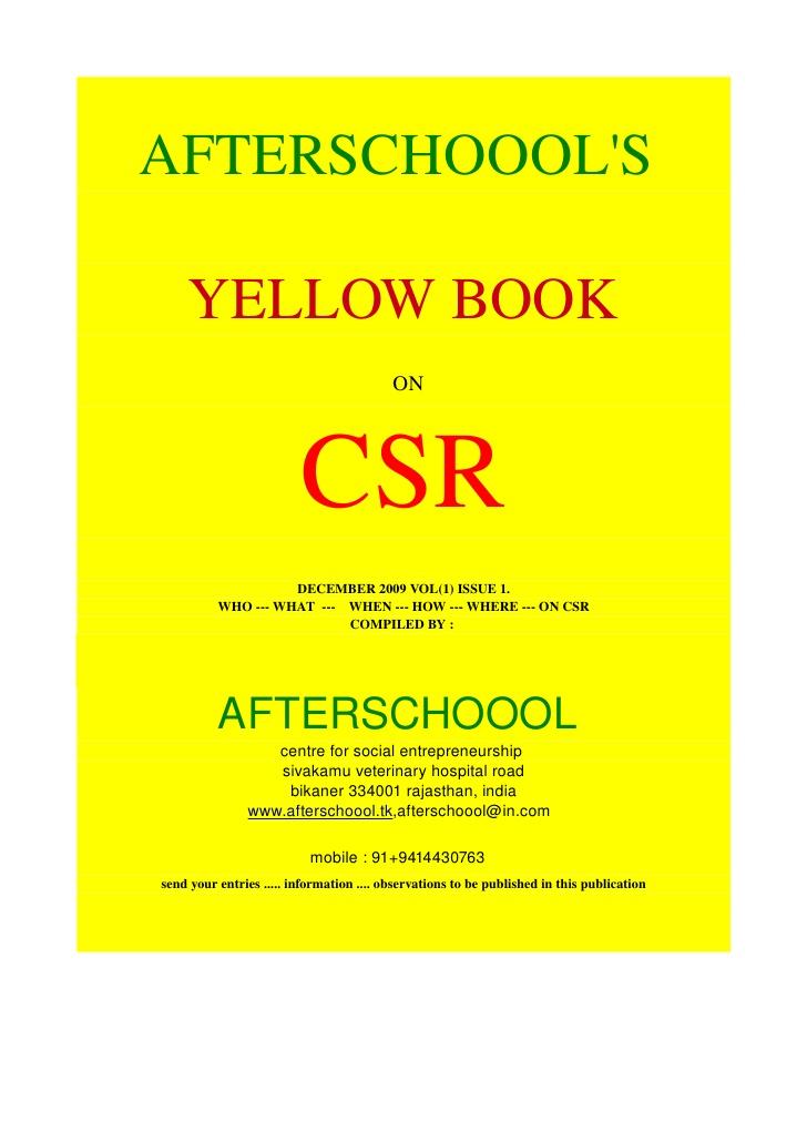 Yellow Book On Csr