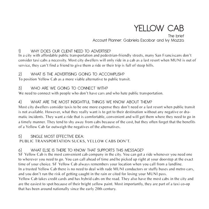 Yellow Cab brief - School Project