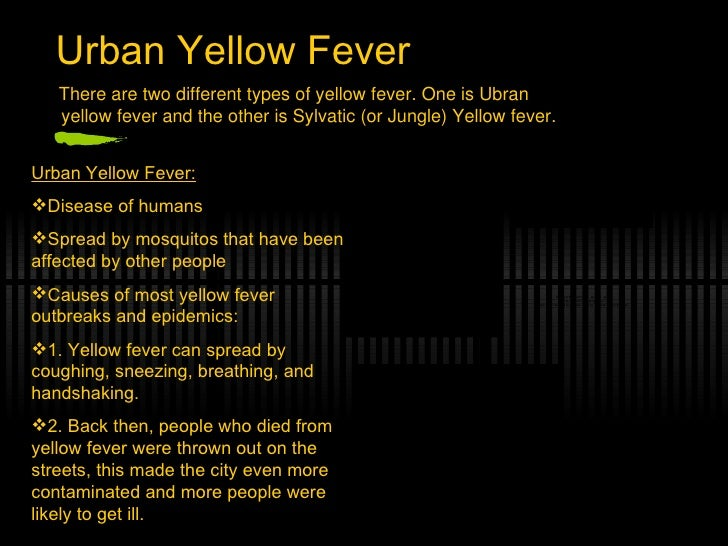 a brief note on yellow fever virus Y ellow fever is a virus spread by the yellow fever mosquito aedes aegypti generally, yellow fever symptoms begin to show within one week of infection  it's brief disease is first.