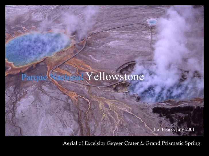 Aerial of Excelsior Geyser Crater & Grand Prismatic Spring Jim Peaco, July 2001 Parque Nacional  Yellowstone