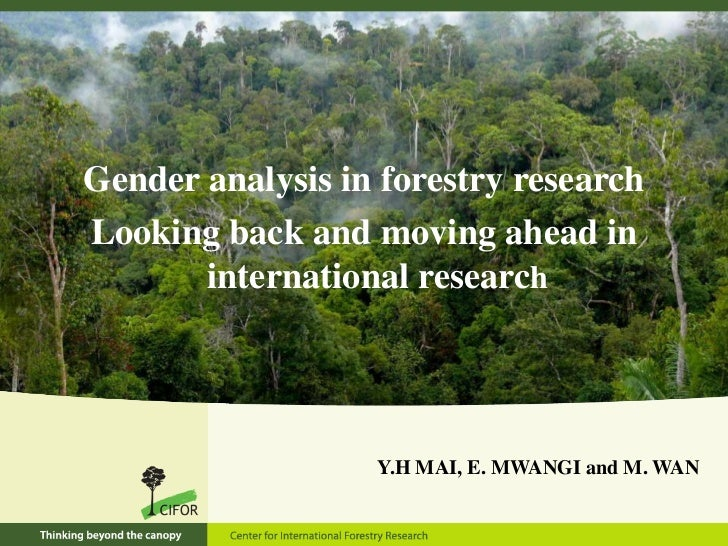 Gender analysis in forestry research<br />Looking back and moving ahead in international research<br />Y.H MAI, E. MWANGI ...
