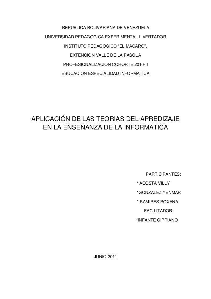 """REPUBLICA BOLIVARIANA DE VENEZUELA<br />UNIVERSIDAD PEDAGOGICA EXPERIMENTAL LIVERTADOR<br />INSTITUTO PEDAGOGICO """"EL MACAR..."""