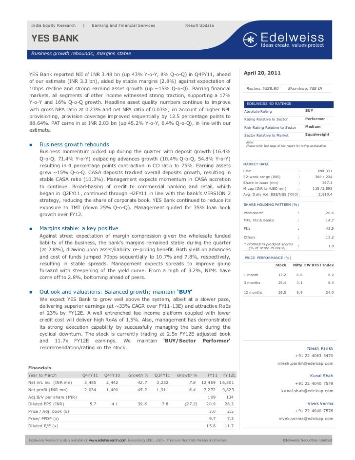 India Equity Research                  Banking and Financial Services                             Result Update YES BANK  ...
