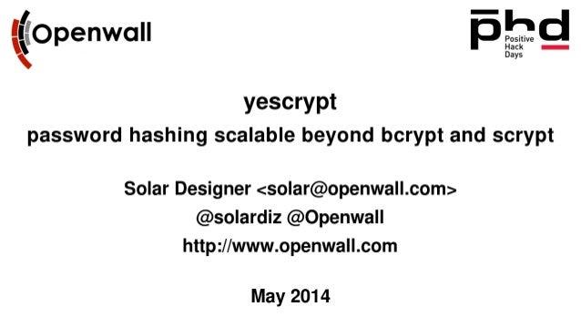Yescrypt: хэширование паролей после bcrypt и scrypt