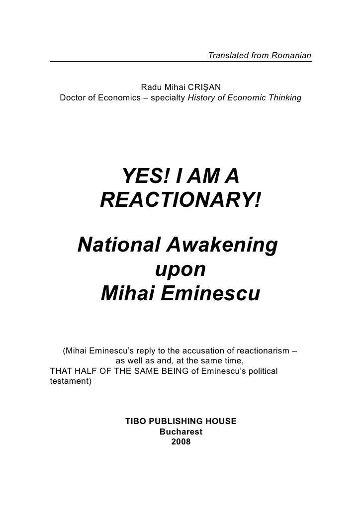 YES! I AM A REACTIONARY! MIHAI EMINESCU