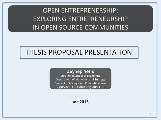 Entrepreneur thesis proposal