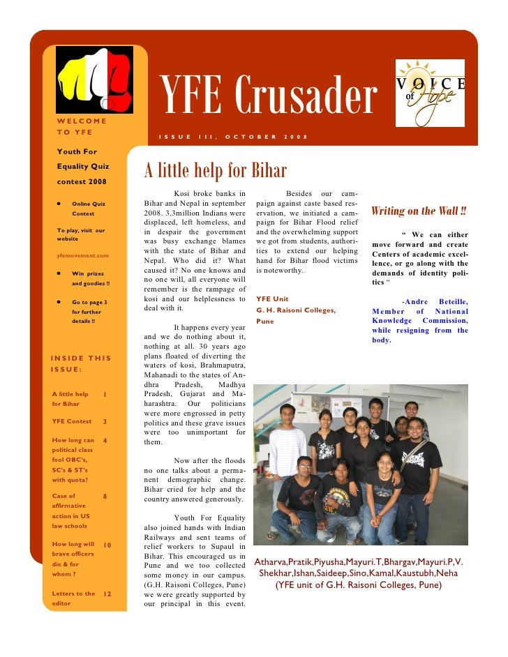 WELCOME  TO YFE                                 YFE Crusader                                 I S S U E   1 I I ,   O C T O...