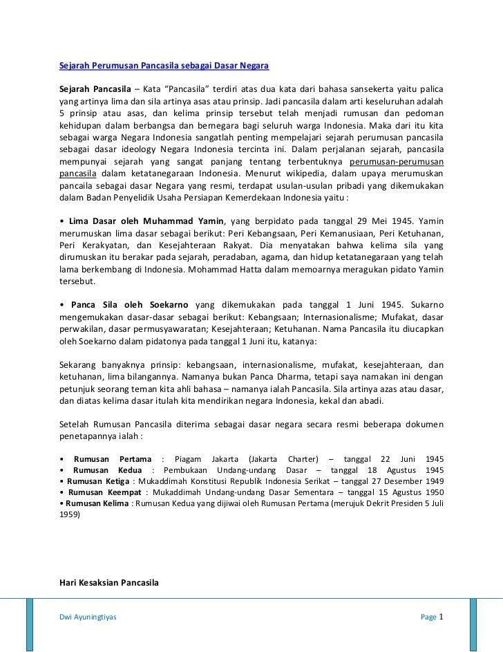 """Sejarah Perumusan Pancasila sebagai Dasar NegaraSejarah Pancasila – Kata """"Pancasila"""" terdiri atas dua kata dari bahasa san..."""