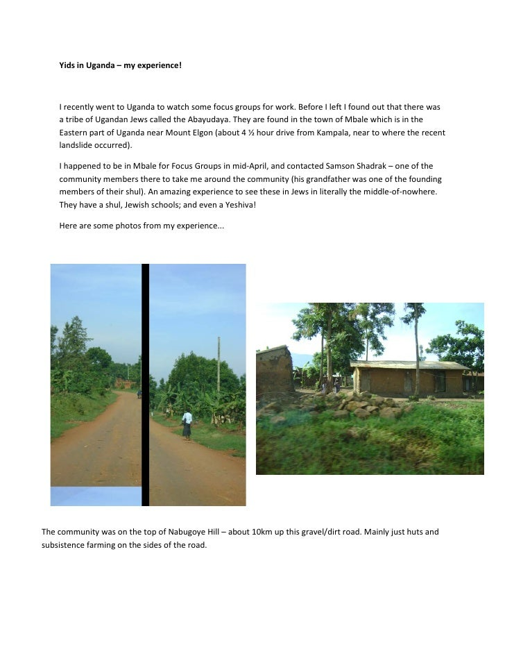 Yids in Uganda – my experience!        I recently went to Uganda to watch some focus groups for work. Before I left I foun...