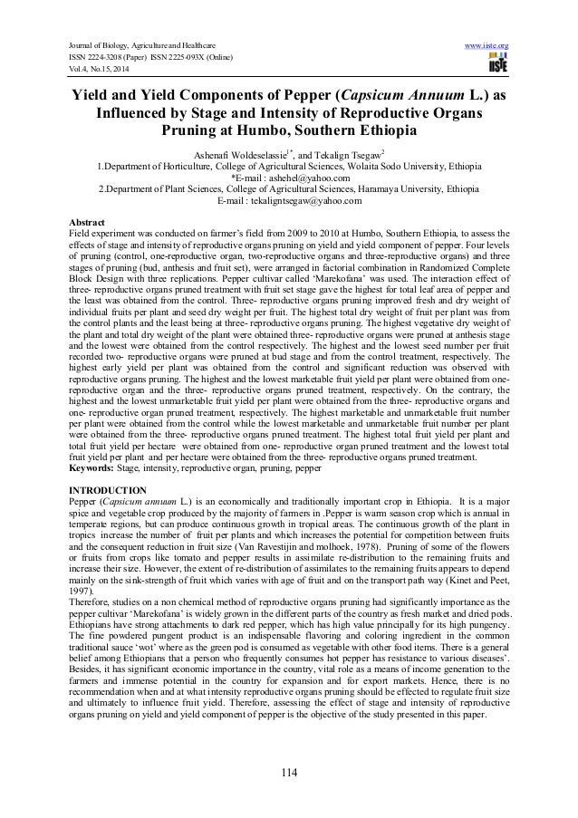 Yield and yield components of pepper (capsicum annuum l.) as influenced by stage and intensity of reproductive organs pruning at humbo, southern ethiopia