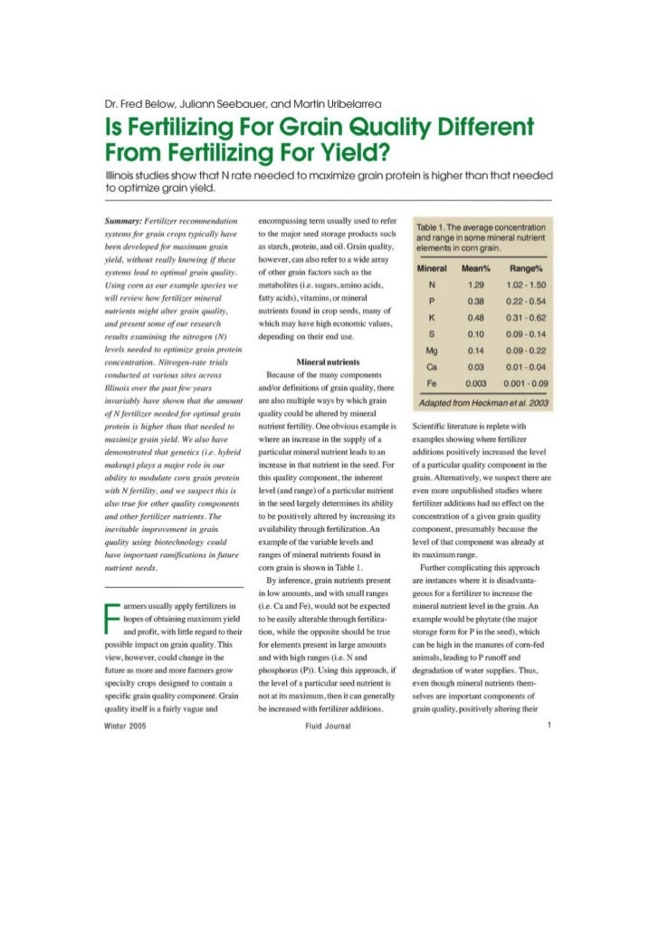 Is Fertilizing For Grain Quality Different From Fertilizing For Yield ?