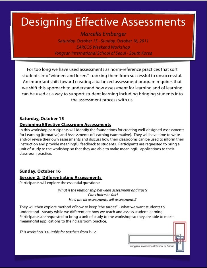 Designing Effective Assessments                                      Marcella Emberger                        Saturday, Oct...