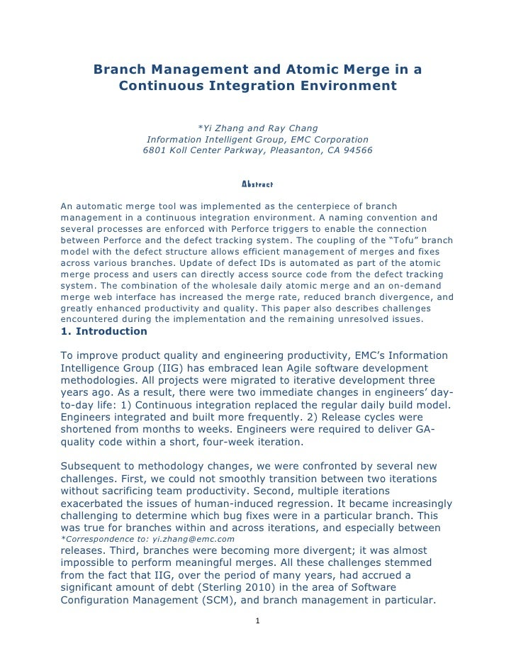 White Paper: Branch Management and Atomic Merge in a Continuous Integration Environment