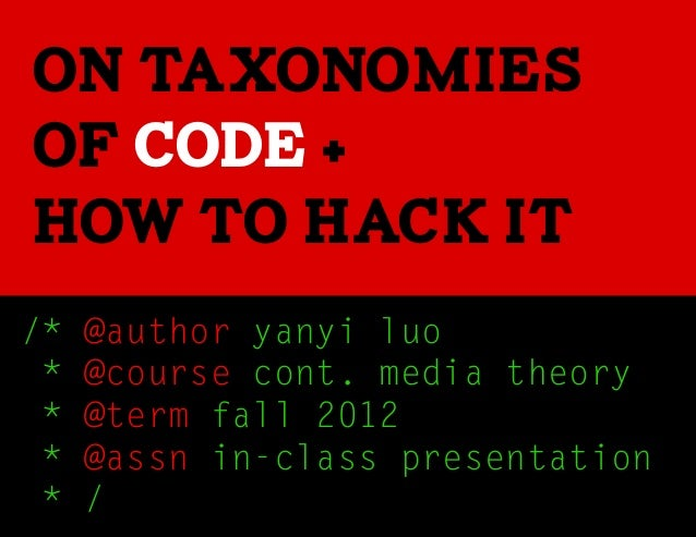 On taxonomiesof code +how to hack it/*   @author yanyi luo *   @course cont. media theory *   @term fall 2012 *   @assn in...