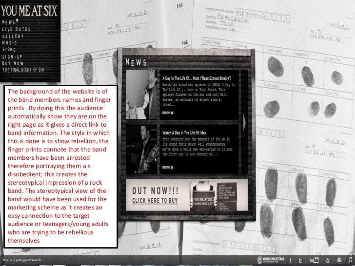 The background of the website is ofthe band members names and fingerprints . By doing this the audienceautomatically know ...