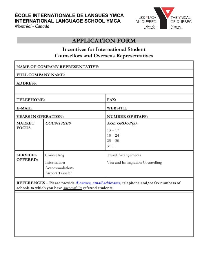 Ymca agent application-form