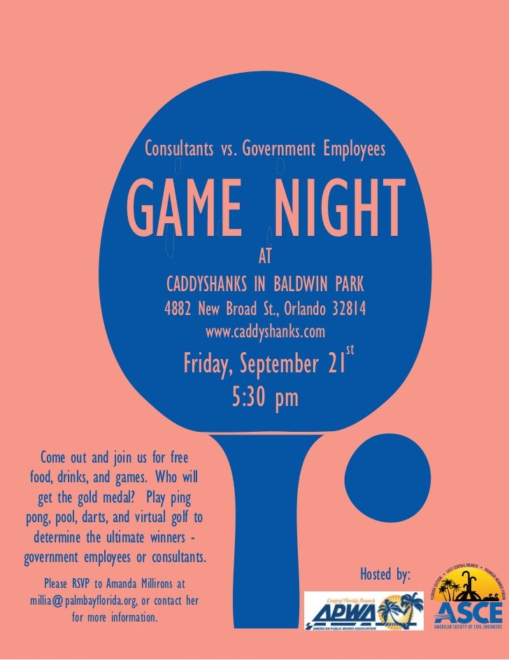 Consultants vs. Government Employees                       GAME NIGHT              AT                                  CAD...