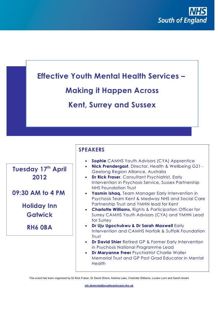 Effective Youth Mental Health Services –                                 Making it Happen Across                          ...